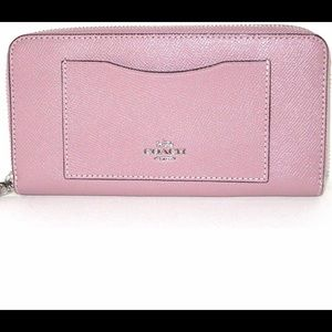 Coach accordion zip wallet carnation and silver